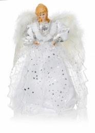 Christmas Tree Top Fairy Silver White With Fairy Wings 30cm