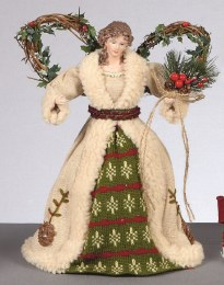 Christmas Tree Topper Angel in Plaid Dress & Hessian Coat 30cm
