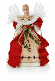 Christmas Tree Topper Natural Angel with White Feather Wings 30cm