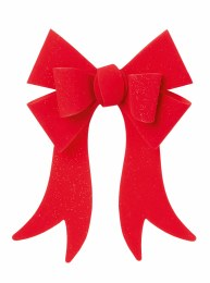 Christmas Bow Red Velvet with Glitter 46x30cm