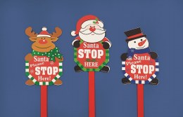Christmas Sign Garden Stake Santa Stop Here 1m