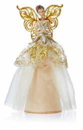 Christmas Tree Top Angel Champagne Gold Dress with Wings 23cm