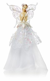 Christmas Tree Top Fairy White Vintage Dress With Wings 23cm
