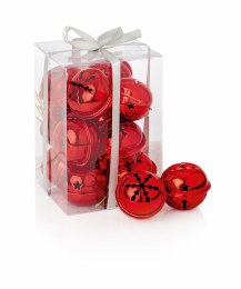 Christmas Bauble Red Jingle Bells in Box 12 x 4cm