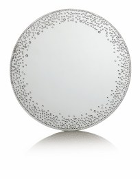 Christmas Mirror Plate Silver with Diamonds 25cm
