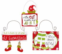 Christmas Elf Sign Tree Trim Hangers