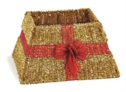 Christmas Tree Skirt Gold Tinsel with Red Bow 35cm x 50cm