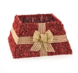 Christmas Tree Skirt Red Tinsel With Gold Bow
