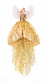 Christmas Tree Topper Fairy With Gold Clothing 46cm