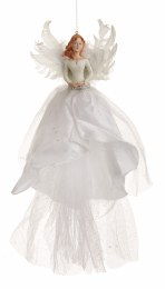 Christmas Tree Top Fairy White Dress With Fairy Wings 46cm