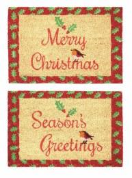 Christmas Door Mat with Robin ' Merry Christmas or 'Seasons Greetings' 40x60cm