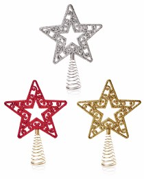 Christmas Tree Topper Star with Glitter 17cm
