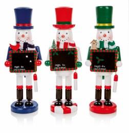Christmas Nutcracker Snowman with Chalkboard 35cm