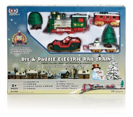 Christmas 39 Piece DIY Puzzle Train Set With Music & Headlight - Battery Operated