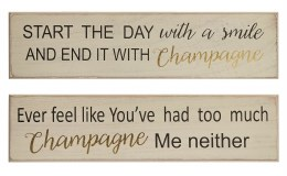 Christmas Sign ' Start the day with a Smile & End it with Champagne' 48cm x 12cm
