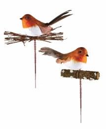 Christmas Pick Robin on Twig 17cm