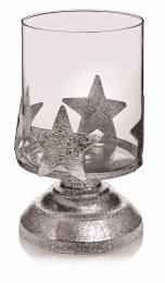 Christmas Tea Light Glass & Metal Holder Silver 18cm