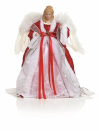 Christmas Tree Top Angel in Red Fabric with Wings 40cm