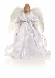 Christmas Tree Top Angel in White Fabric with Wings 40cm
