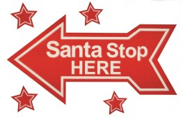 Christmas Sign Arrow ' Santa Stop Here' Floked Window Cling 28cm x 40cm