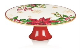Christmas Cake Plate with Poinsettia Pattern 29 x 10cm