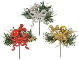 Christmas Pick Bauble & Bow