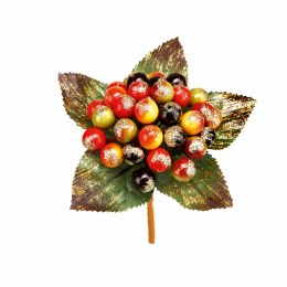 Christmas Pick Gold Glitter Flower and Berry 10cm