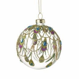 Christmas Clear Glass with Peacock Design Bauble with Hanger 8cm