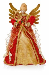 Christmas Tree Topper Angel Red and Gold 30cm