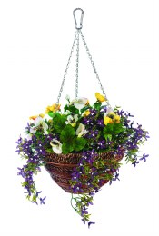 Artifical Pansy and Belleflower Wall Basket