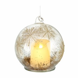 Battery Operated Glass Bauble with Light up Candle