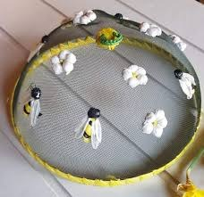 Bee & Flower Raffia Mesh Food Cover