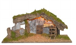 Christmas Nativity Empty Stable With Lights 56x21x27cm
