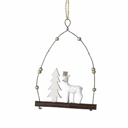 Christmas Decoration Deer with Tree on Hanger 10.5x14cm