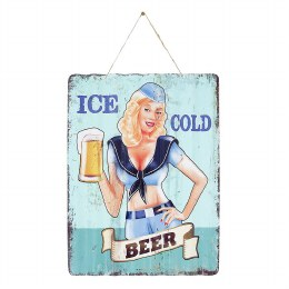 La Hacienda Ice Cold Beer Metal Sign