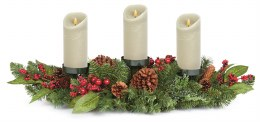 Christmas Candle Holder with Pinecones and Berries