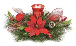 Christmas Candle Ring Holder Poinsettia 60cm