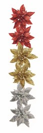 Christmas Pick Poinsettia with Clip in Red Gold or Silver 13cm