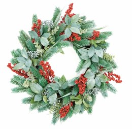 Foliage Wreath with Red Berries 60cm