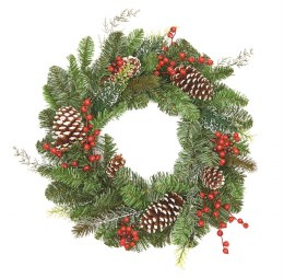 50cm Frosted Pinecone Wreath with Berries