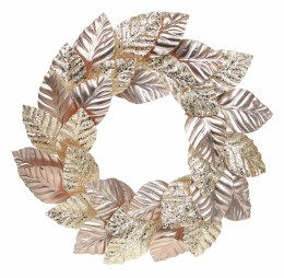 Christmas Rose Gold Magnolia Leaf Wreath 50cm