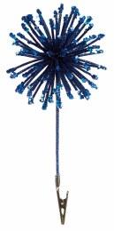 Christmas Blue Sparkle Glitter Decoration on Clip 20cm