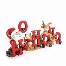 Christmas Sign Santa & Reindeer HoHoHo Sign 23x12cm