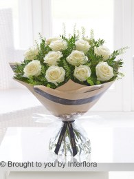 Dramatic Dozen White Roses - Perfect Valentine's Day Bouquet