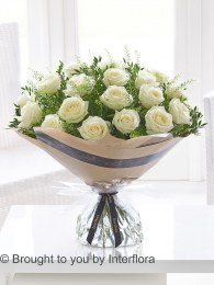 Dramatic Eighteen White Roses - Perfect Valentine's Day Gift