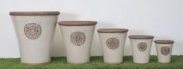Embossed Crest Terracotta Pot Cream 24 x 26cm
