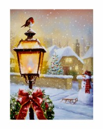 Christmas Canvas Lantern and Robin Scene with LED Lights 40x30cm