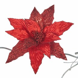 Christmas Red Glitter Poinsettia on Clip 28cm