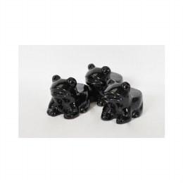 Pot Feet Terracotta Glazed Black Frog