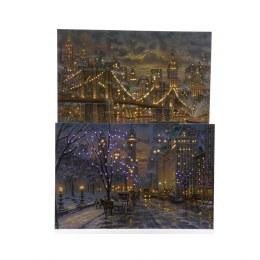 Christmas Canvas Fibre Optic Central Park or Brooklyn Bridge 40cm x 60cm
